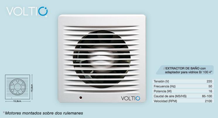 Extractor De Aire Para Baño 4 Voltio Blanco Pared O Vidrio ...
